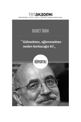 ahmet inam - trt akademi dergisi