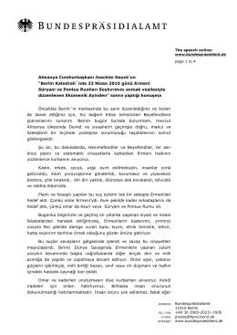 Berlin Katedrali´nde 23 Nisan 2015 günü Ermeni Süryani ve Pontus
