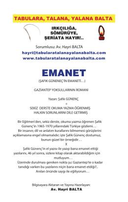 Emanet (Şafık Günenç Emaneti) - Tabulara, Talana, Yalana Balta