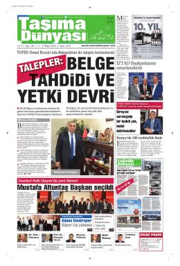 Taşıma Dünyası Gazetesi-187 PDF 11 Mayıs 2015 tarihli sayısını