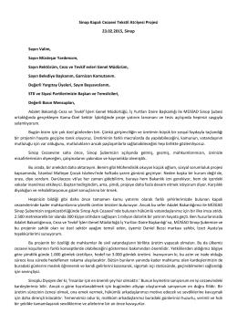 23 Şubat 2015 Sinop Kapalı Cezaevi Tekstil Atölyesi Projesi