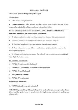 Sayfa 1 / 12 KULLANMA TALİMATI TOPAMAX Sprinkle 50