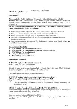 KULLANMA TALİMATI ZİNCO 30 mg FORT şurup Ağızdan