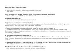 Kontenjan - Kayıt için sorulan sorular