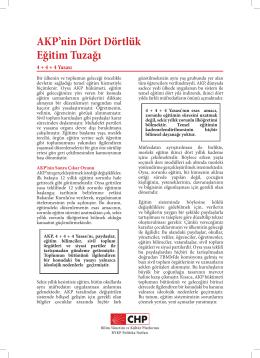 AKP`nin Dört Dörtlük Eğitim Tuzağı