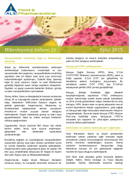 Mikrobiyoloji bülteni 26 Eylül 2015