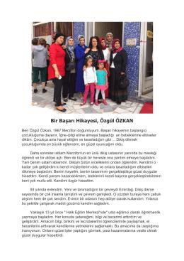 Bir Başarı Hikayesi, Özgül ÖZKAN - Emirdağ Ticaret ve Sanayi Odası