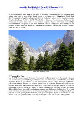 Aladağlar-Beş Günde 5+1 Zirve (18-23 Temmuz 2015)
