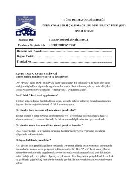 Prick Test  - Türk Dermatoloji Derneği