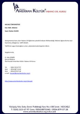 indir - Kocaeli Üniversitesi - Endüstri Mühendisliği Bölümü