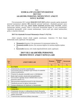 2015 yılı akademik personel memnuniyet anket sonuçları