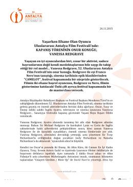 KAPANIŞ TÖRENİNİN ONUR KONUĞU, VANESSA REDGRAVE