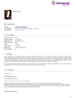 Tanyel Güveniş İletişim Bilgileri E-Posta : guvenistanyel