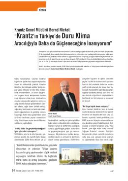 Krantz`ιn Türkiye`de Duru Klima Aracιlιùιyla Daha da Güçleneceùine