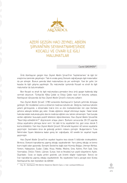 Doç. Dr. Cavid QASIMOV-Azeri Gezgin Hacı Zeynel Abidin Şirvani