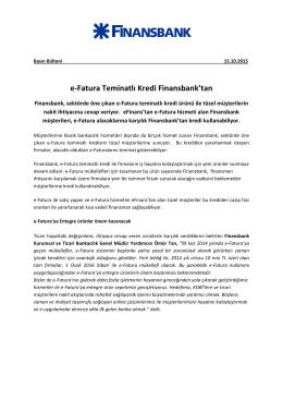 e-Fatura Teminatlı Kredi Finansbank`tan