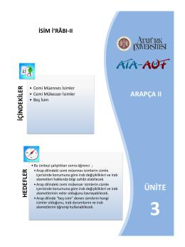 ÜNİTE - Atatürk Üniversitesi Açıköğretim Fakültesi