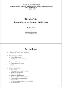 Türkiye`nin Ermenistan ve Ermeni Politikası SBF