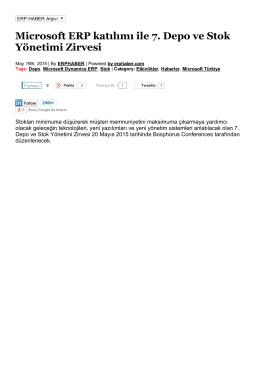 Microsoft ERP katılımı ile 7. Depo ve Stok Yönetimi Zirvesi