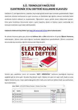 s.ü. teknoloji fakültesi elektronik staj defteri kullanım klavuzu