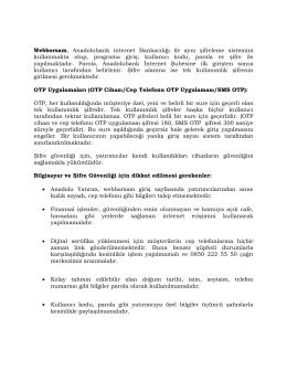 Webborsam, Anadolubank internet Bankacılığı ile aynı şifreleme