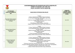 Ulaşım Hizmet Standartları - Kahramanmaraş Büyükşehir Belediyesi