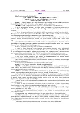 Türk Gıda Kodeksi Takviye Edici Gıdalar Tebliği (Tebliğ No: 2013/49)
