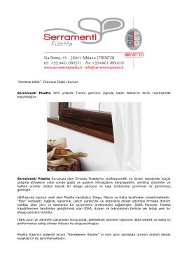"""""""Finestra IDEA"""" Ürününe İlişkin Sunum Serramenti Pisetta 50`li"""