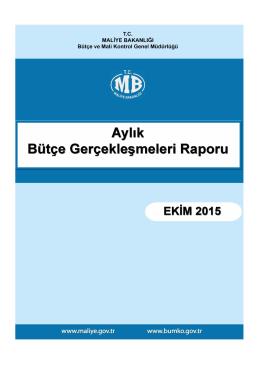 2015 Ekim Ayı Bütçe Gerçekleşmeleri Raporu