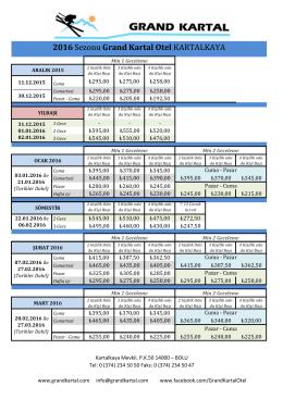 2015 - 2016 Sezonu Fiyat Listemiz GÖRÜNTÜLE