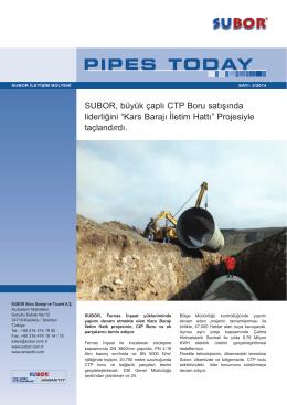 """SUBOR, büyük çaplı CTP Boru satışında liderliğini """"Kars Barajı İletim"""