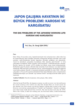 JAPON ÇALIŞMA HAYATININ İKİ BÜYÜK PROBLEMİ: KAROSHİ VE