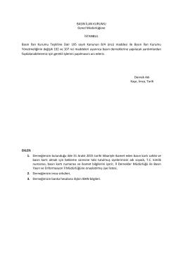 BASIN İLAN KURUMU Genel Müdürlüğüne İSTANBUL Basın İlan