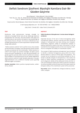 Defisit Sendrom Şizofreni: Biyolojik Kanıtlara Dair