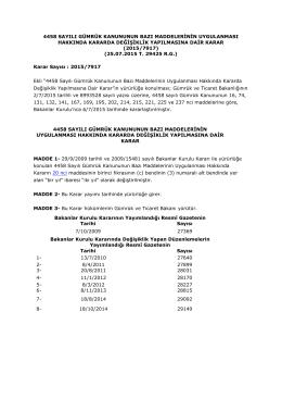 4458 sayılı gümrük kanununun bazı maddelerinin uygulanması
