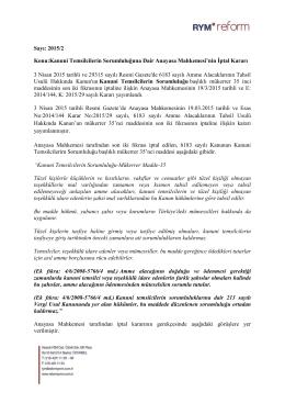 Sayı: 2015/2 Konu:Kanuni Temsilcilerin Sorumluluğuna Dair