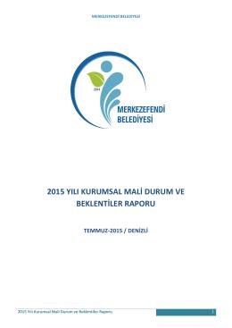 2015 yılı kurumsal mali durum ve beklentiler raporu