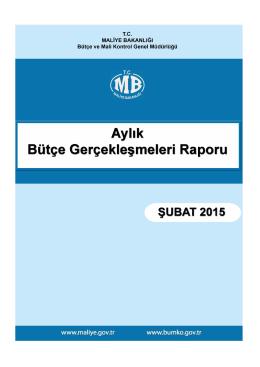 2015 Şubat Ayı Merkezi Yönetim Bütçe Gerçeklesmeleri Raporu