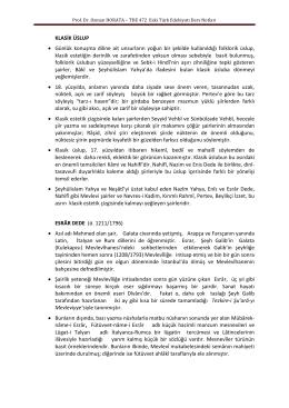 Prof. Dr. Osman HORATA – TDE 472 Eski Türk Edebiyatı Ders Notları