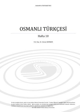 osmanlı türkçesi - Sakarya Üniversitesi