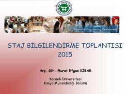 PowerPoint Sunusu - Kocaeli Üniversitesi Kimya Mühendisliği Bölümü