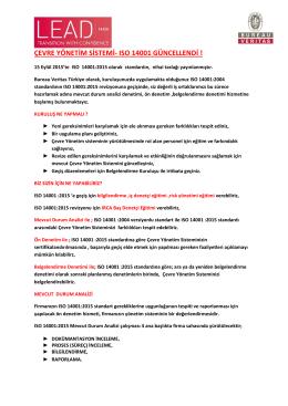 çevre yönetim sistemi- ıso 14001 güncellendi