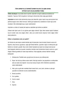 (kurdeşen), kısa s - Türk Dermatoloji Derneği