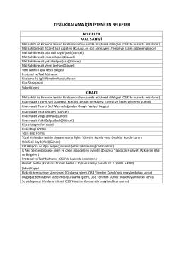 tesis kiralama için istenilen belgeler