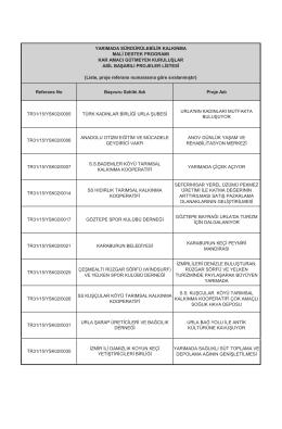 Referans No Başvuru Sahibi Adı Proje Adı TR31/15/YSK02/0005