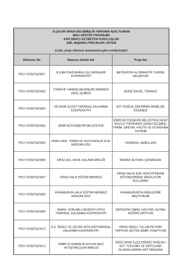 Referans No Başvuru Sahibi Adı Proje Adı TR31/15/İGF02/0001 S.S.