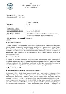 Dosya No: 2015/3022 - Hak Sahibi Olunan Özel Ağaçlandırma