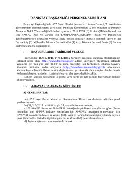 danıştay başkanlığı personel alım ilanı
