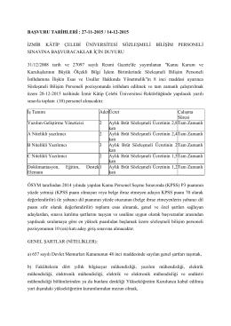 27-11-2015 / 14-12-2015 izmir kâtip çelebi üniversitesi sözleşmeli