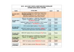 2015 - 2016 güz yarıyılı mdb ingilizce dersleri dönem sonu sınav